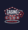 casino premium club retro neon sign vintage vector image