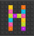 colorful brick block letter h flat design vector image vector image