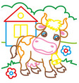 coloring book of cow on farm vector image vector image