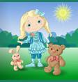 cute cartoon girl with toys teddy bear and rabbit vector image vector image