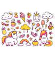cute unicorns with magic elements vector image vector image