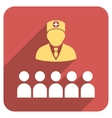 Doctor Class Flat Rounded Square Icon with Long vector image