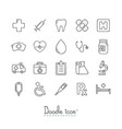 doodle medical icons vector image vector image