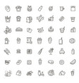 fast food outline icons set cooking vector image