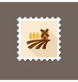 Field with a mill and wheat flat stamp vector image vector image