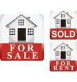 for sale sold and for rent icon vector image vector image