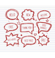 hand-drawn speech and thought bubbles on lined vector image vector image