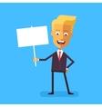 Handsome blond businessman holding banner vector image vector image