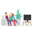 happy family watching tv sitting on couch sofa vector image vector image
