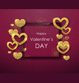 happy valentines day poster golden sparkle heart vector image