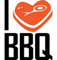 i love bbq on white background vector image vector image