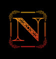 letter n with ornament vector image vector image