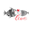 lovers graphic fish with a heart for valentines vector image vector image