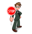 Man with stop sign vector image vector image