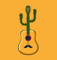 mexican party poster with guitar and cactus vector image