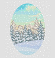 new year card with winter landscape vector image