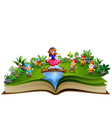 open book with snow white and dwaft in the park vector image vector image