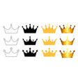 princess golden and black crown icon collection vector image