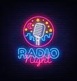 radio night neon logo radio night neon vector image vector image