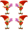 Red Elf Holding A Present vector image