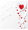 Red paper hearts Valentines day card with arrows vector image vector image