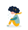 sad and depressed girl sitting on the floor vector image