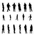 set black and white silhouette walking people vector image vector image