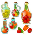 set decorative glass bottles with pickled ripe vector image