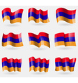 Set of Armenia flags in the air vector image vector image