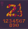 set of beautiful numbers decorated with herbal vector image vector image