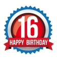 Sixteen years happy birthday badge ribbon vector image vector image