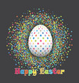 spotted easter egg on confetti background vector image vector image