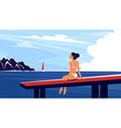 summertime beach vacation banner with girl vector image vector image
