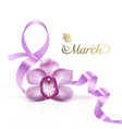 symbol march 8 with a purple orchid flower vector image