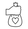 take volunteer bag icon outline style vector image