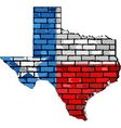 Texas map on a brick wall vector image vector image