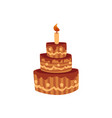 tier birthday cake with chocolate icing and candle vector image