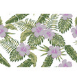 tropical leaves and hibiscus seamless white vector image vector image