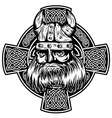 viking and celtic cross vector image vector image