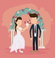 wedding just married card vector image