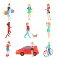 Women And Girls Different Lifestyle Activities vector image vector image