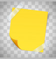 yellow sticky note with the curled corner and vector image vector image