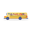 yellow trip bus with kids going on excursion vector image
