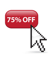 75 Off Button Click vector image vector image