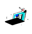 a laptop with interface elements bright vintage vector image
