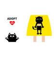 adopt me girl holding black cat kitten cute vector image