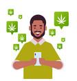 African american man ordering hemp cannabis