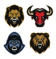 Animals logos Lion bull gorilla bear vector image