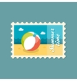 Beach Ball flat stamp summertime vector image vector image