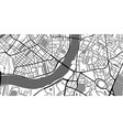 black and white map city center roads monochrome vector image vector image